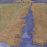 Cammino Blu Ossidi, terre e sabbie su tela 2003, 70x50 cm