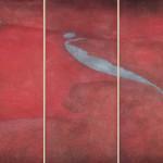 La natura prevale (campo - scarpata - solco) Ossidi, terre e sabbie su tela 2004, Trittico 180x240 cm