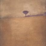 Viola all'orizzonte Ossidi, terre e sabbie su tela 2004, 120x80 cm