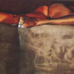 Strutture solide 1996, olio e sabbie su tela, 100 X 180 cm