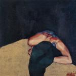 Donna bruna riversa 1996, olio e sabbie su tela, 100X100 cm