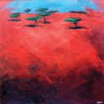Terra rossa 2, 1990 Olio su masonite trattata, cm 80 X 80
